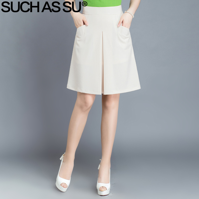 48a3befa2d SUCH AS SU 2017 New Women Casual A Line Skirts Slim Black White Orange Knee  Length Pockets Solid Color Plus Size Female Skirt-in Skirts from Women's ...
