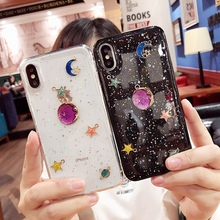 Fashion Bling Glitter Star Moon phone Case For iphone7 8 plus 6 6s Soft Flash Powder Clear Cover iphone X  XS Max XR