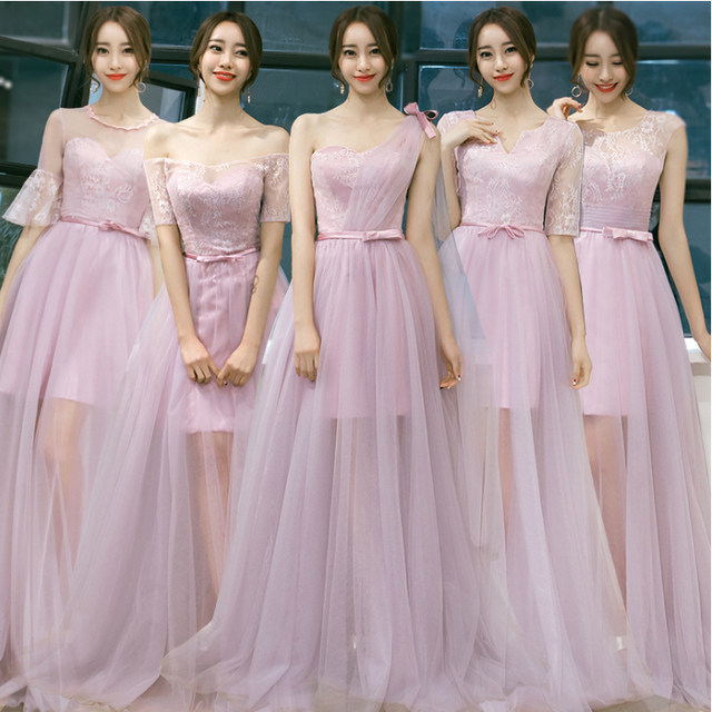 Country Bridesmaids Long Elegant Full Figure Sweetheart Women Bridesmaid Dresses Blush Dress Ball Gown For Wedding