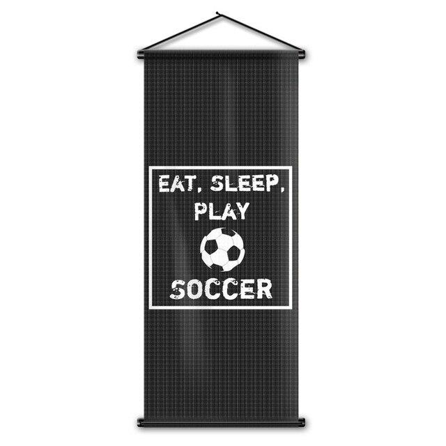 Custom Printing Eat Sleep Play Soccer Flag Home Decor Hanging Poster