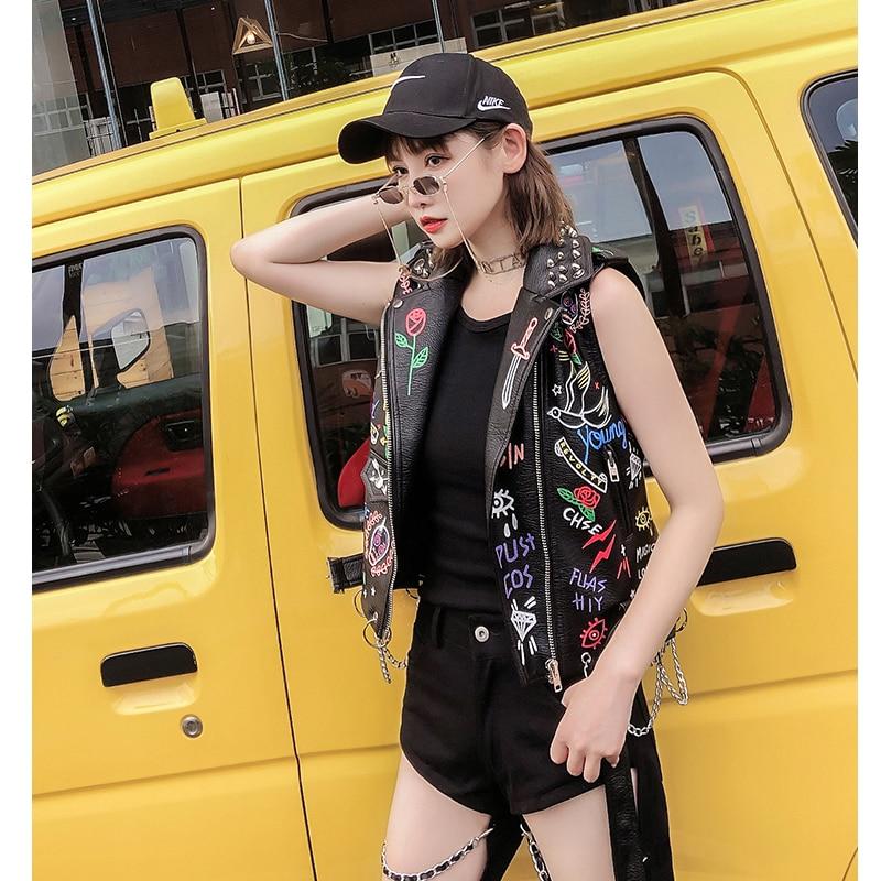 Lordld noir en cuir gilet femmes moto Streetwear Pu cuir veste sans manches femme Steampunk imprimé Biker gilet - 4