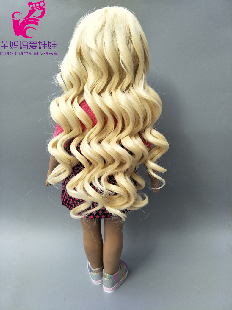 18 Ameican girls doll blonde curly hair 25-28CM Head circumference wigs for handmade cloth doll hair repair doll diy hair-003 25 28cm head blonde dark brown doll hair for handmade doll hair for homemade cloth toy diy dolls 18 inch doll hair repair 006