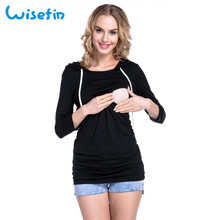 Wisefin Maternity Breastfeeding Nursing Hoodie Long Sleeve Casual Pregnancy Hooded Clothes Autumn Winter For Pregnant