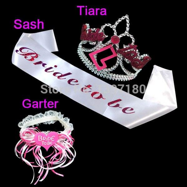 2015 HOT Bride To Be Set Bachelorette Party Sash Tiara Garter Fit Wedding