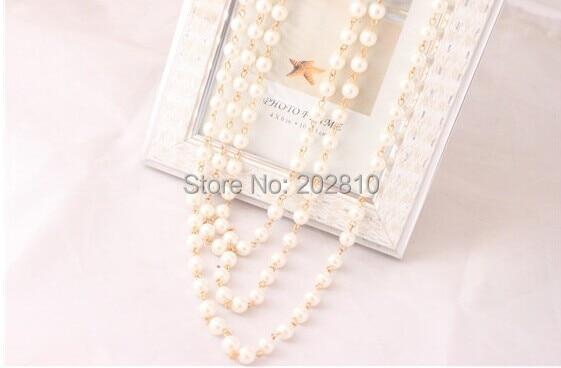 Mada Keturi sezonai dėvėti 3 sluoksnio stulpelio perlų megztinis - Mados papuošalai - Nuotrauka 4