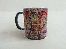 Elefante elefante tazas tazas de café calor Revelan niños mugen mugen Té jarra de cerveza magia etiqueta casera heat taza cambiante del color