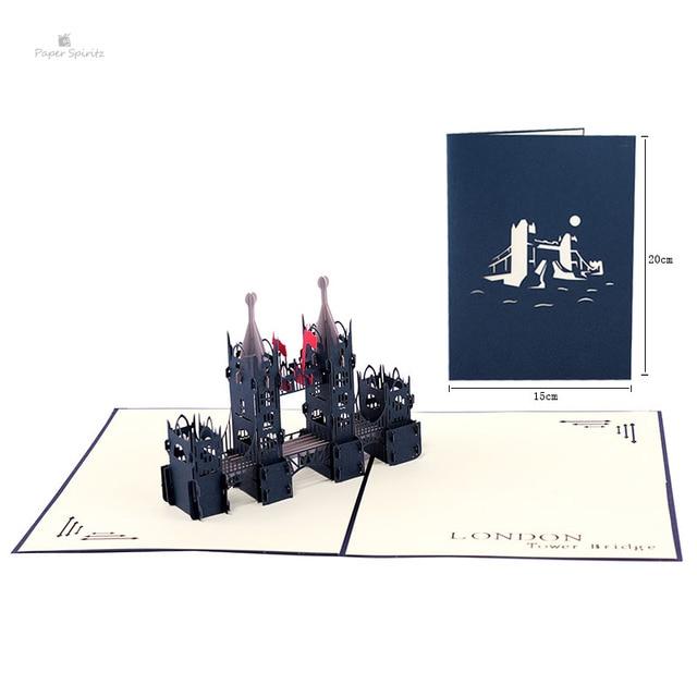 red london bridge handmade laser cutting card bulk 3d pop up custom greeting card for birthday - Custom Greeting Cards