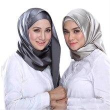 RUNMEIFA hijab scarf black large square silk feeling satin scarf 90*90cm headscarf for muslim women foulard soie wholesale