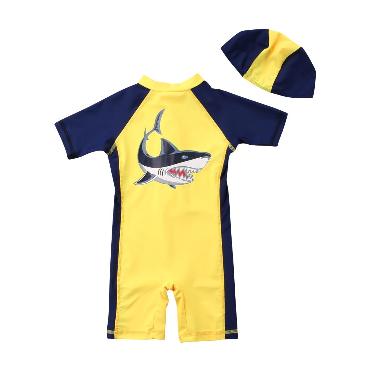 2018 Brand New Toddler Infant Child Kids Swimsuit Shark Boys Soft Swimwear Bathing Suit Costume Clothes +Hat 2Pcs Set 1-6T
