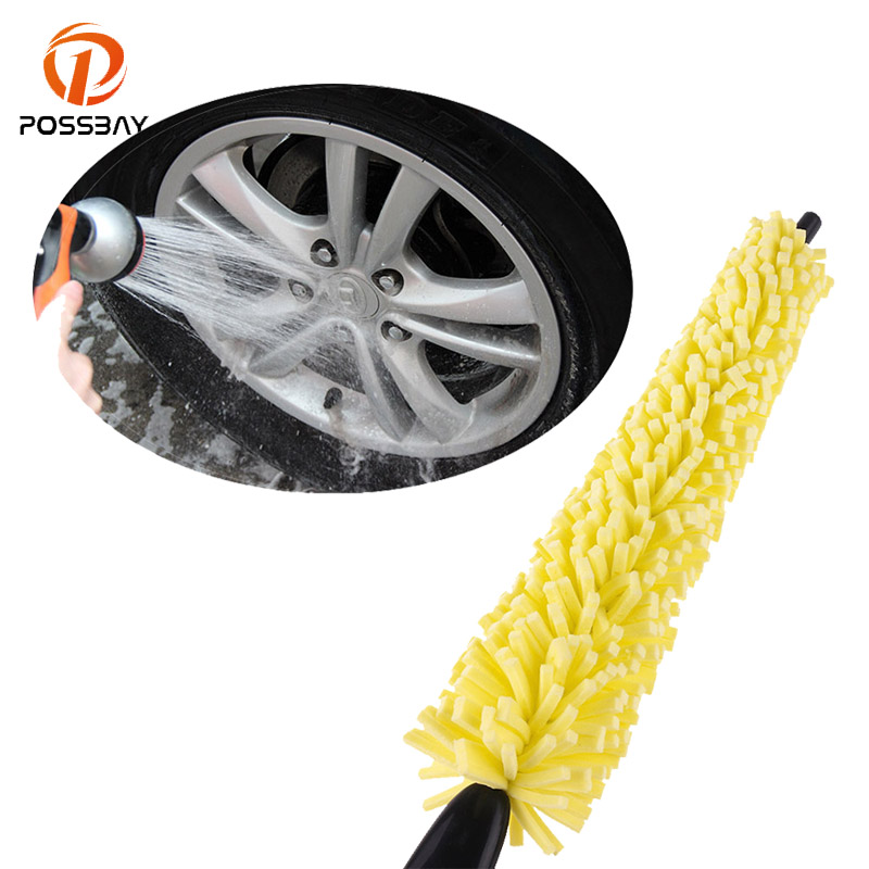 POSSBAY Auto Handle Cleaning Brush Car Truck Motorcycle Bicycle Washing Brush Wheel Tire Rim Scrub Brush Coche Cepillo Accessory