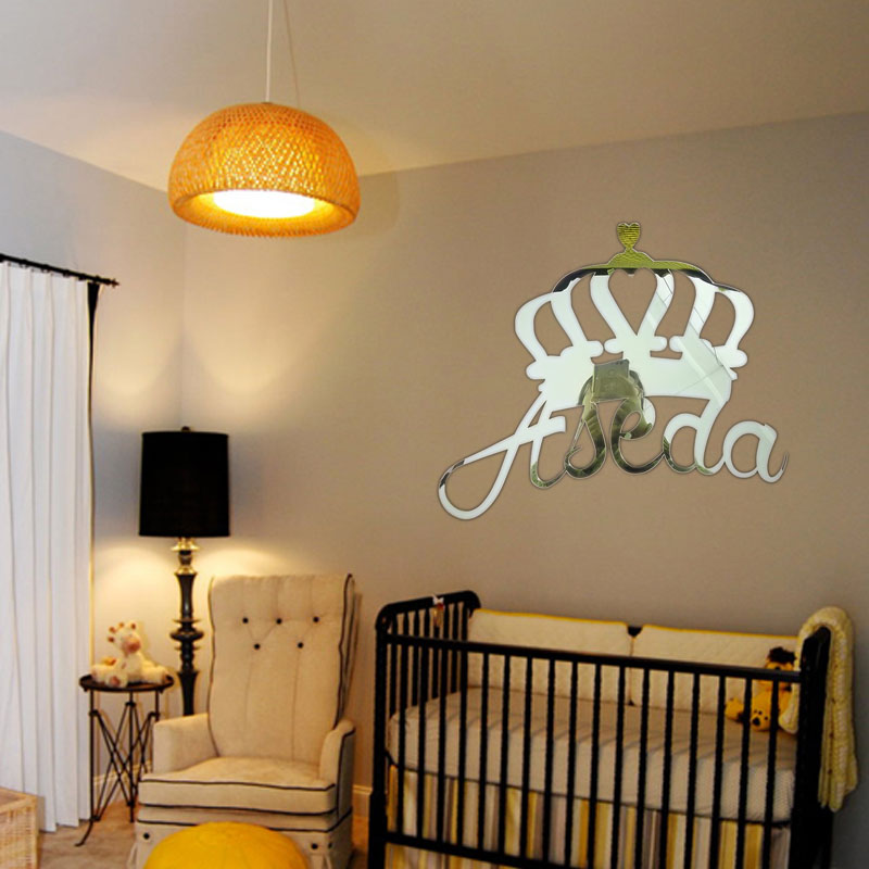 Custom Mirror Gold Crown Princess Prince Name Sign Baby Shower Decoration Personalized Baby Name Sign For Nursery Girl Boy House