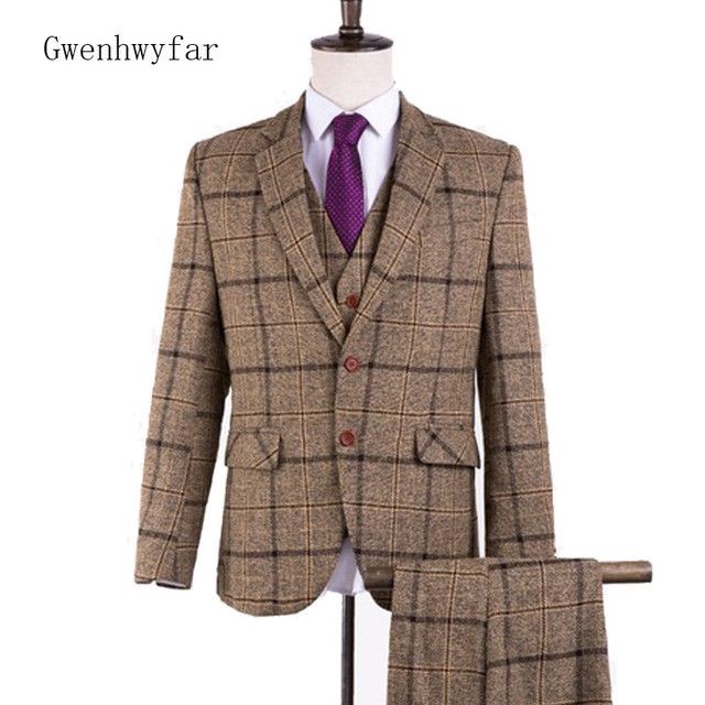 Us 110 0 2018 New Tweed Men Suits Plaid Terno Wedding Suit 2 Buttons Groom Tuxedos Tailored Brown Wool Suits Jacket Pants Vest In Suits From Men S