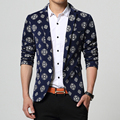 2017 new arrival fashion mens floral blazer	one button casual blazer men plus size 6xl men blazer slim fit traje hombre/XF10