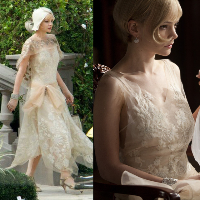 Great Gatsby Celebrity Dress Carey Mulligan Champagne Beaded Flowers  Asymmetric With Tippet V-Neck Illusion Imitation Party Gown 91fd452ad5f4