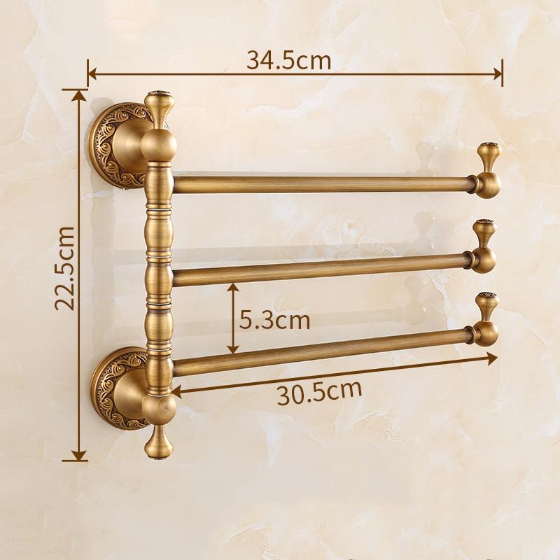 Vidric Towel Racks 3 4 Tiers Bars Antique Brass Towel Holder Bath Rack Active Rails Pants Hanger Bathroom Accessories Wall Shelf