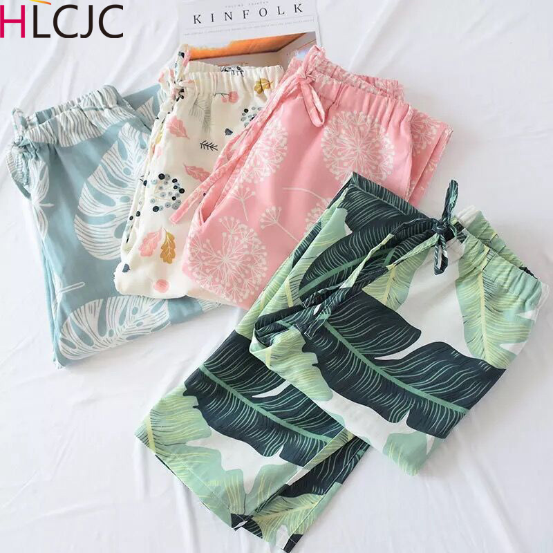 Women's 100% Cotton Double Gauze Lounge Pants Length Long Pajama Bottom Print Pijama Pants Womens Bottoms Sleep Wear For Women