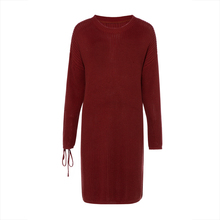 Bohoartist Autumn Dress Women 2018 Brick Red Knitted Straight Lace-Up Loose Round Neck Plain Pullover Dress Warm Sweater Dress