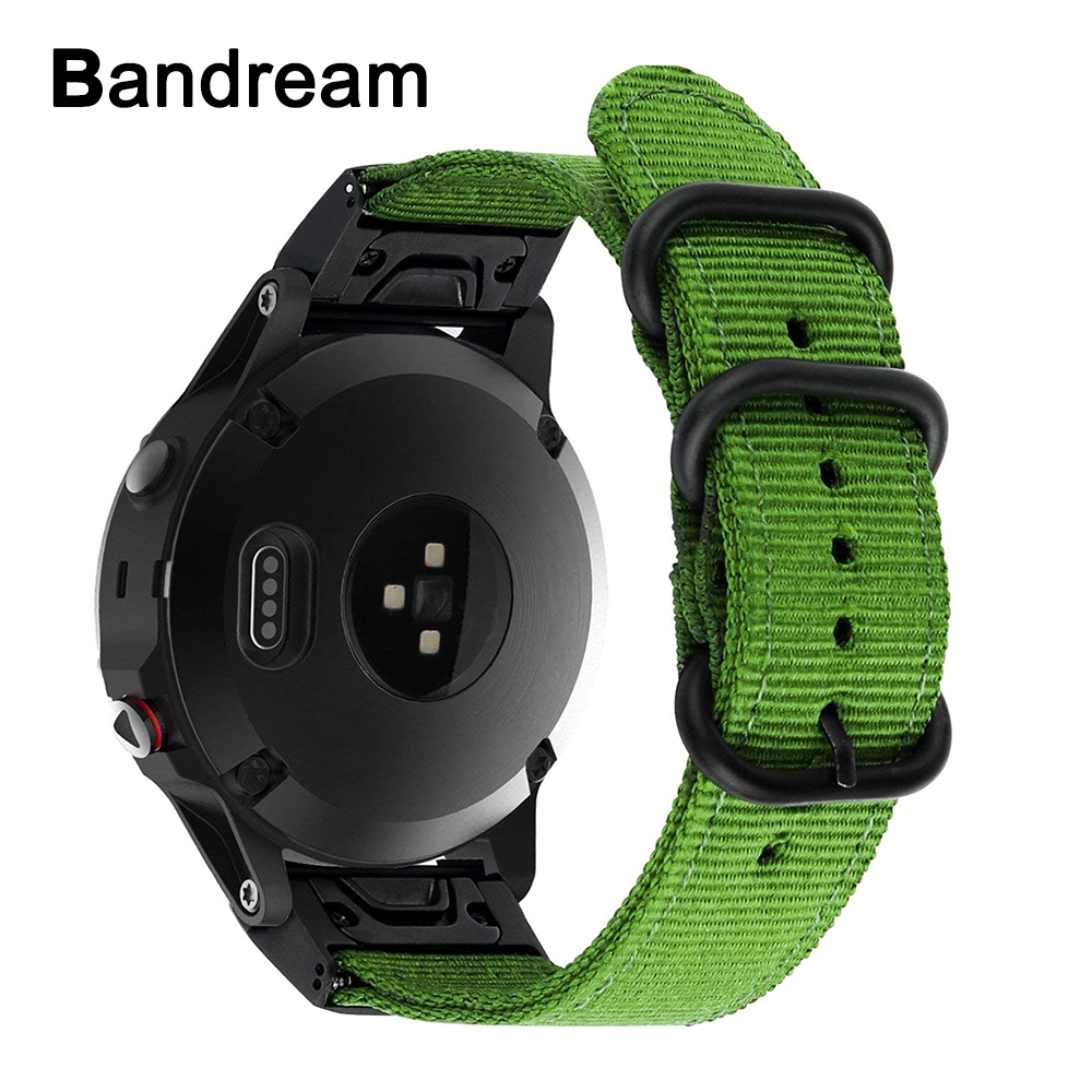 Quick Easy Fit Nylon Watchband 22mm for Garmin Fenix 5/Forerunner 935/Approach S60 Canvas Watch Band Steel Clasp Strap Wristband 22mm watch band accessories stainless steel quick fit release watch bands straps for garmin forerunner 935 fenix 5