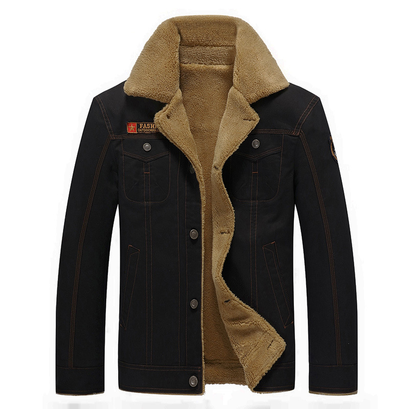 Fur Mens Winter Jackets and Coats Big Size 5XL Stand Collar Button Cardigan Thick Warm Fleece Military Denim Jackets Windbreaker