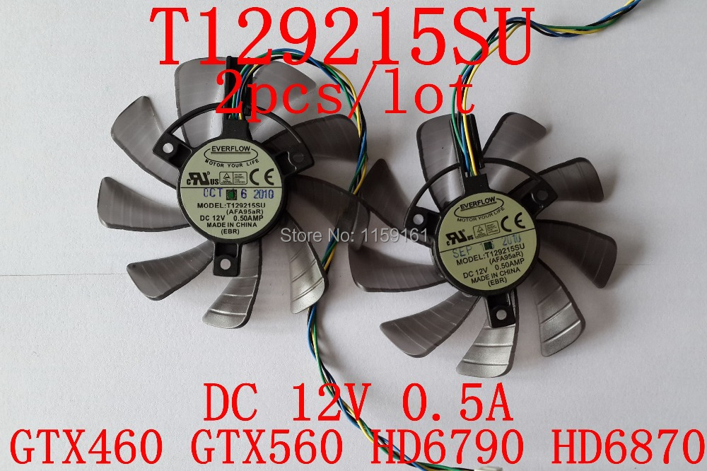 Free Shipping  T129215SU 2pcs/lot 85mm 12V 0.5A 4PIN for ASUS GTX460 GTX560 HD6790 HD6870 Cooling fan computador cooling fan replacement for msi twin frozr ii r7770 hd 7770 n460 n560 gtx graphics video card fans pld08010s12hh