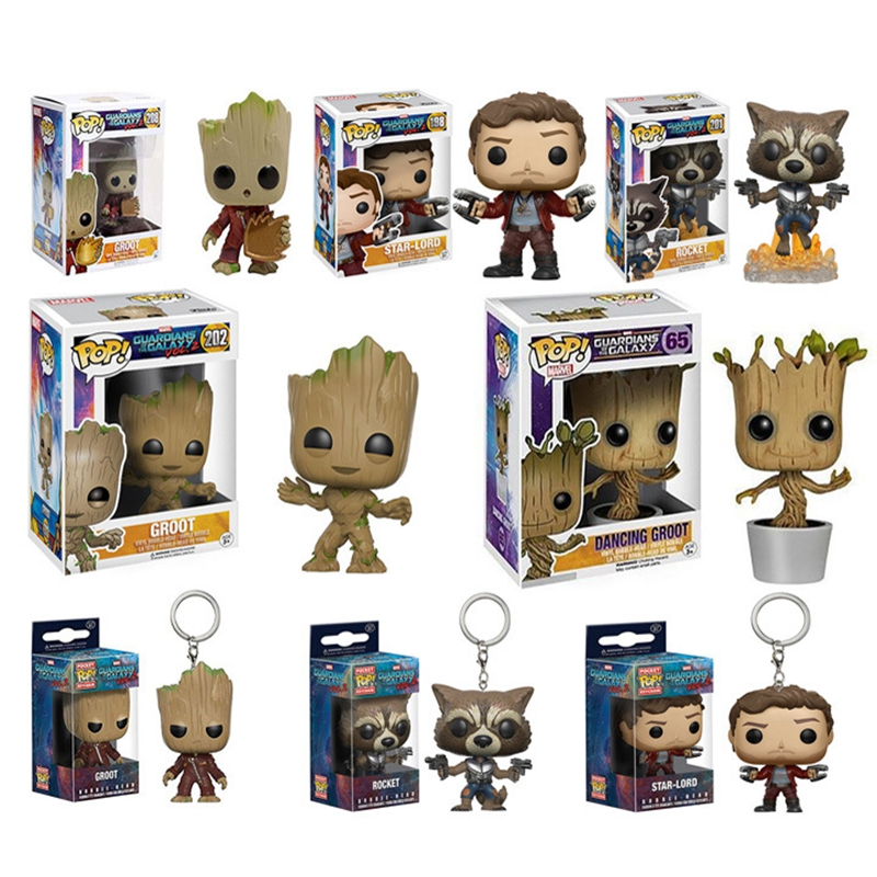 цена на Funko POP:Marvel Guardians of the Galaxy 2 Action Figure Model PVC Figuras Rocket Groot Action & Toy Figures for Children Gift