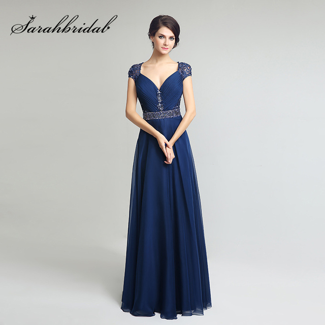 91c93655499 2018 Navy Blue Cap Sleeve Mother of the Bride Dresses Beading Sashes  Chiffon Pleat Back Lace Formal Evening Party Gown OL261