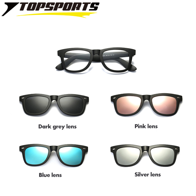 0f78411d78 TOPSPORTS 4 lenses Polarized Clip On Sunglasses Men women optical myopia  TR90 frame TAC lens Glasses driving Magnet prescription