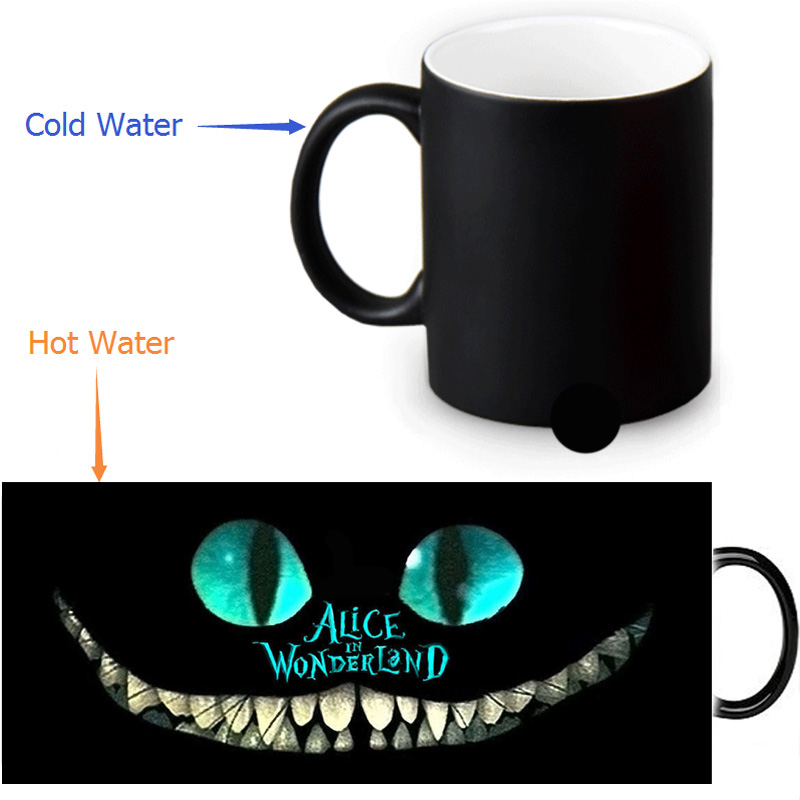 The Cheshire Cat mugs ceramic Alice in the wonderland coffee mug heat reveal cup heat transforming