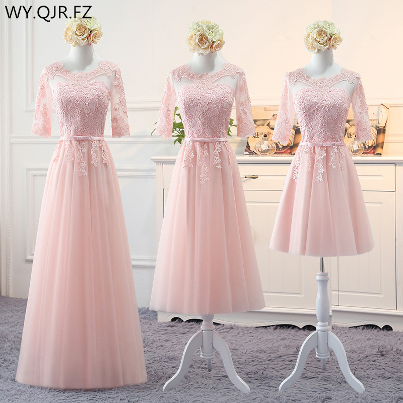 MNZ~13F#Pink Long Medium Short Styl 2019 Spring Lace Up Bridesmaid Dresses Wedding Prom Party Toast Dress Cheap Wholesale China