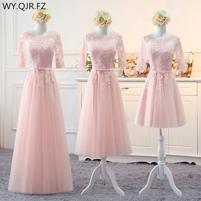 Mnz813f Pink Long Medium Short Style 2018 Spring Lace Up Bridesmaid Dresses Wedding Prom Party