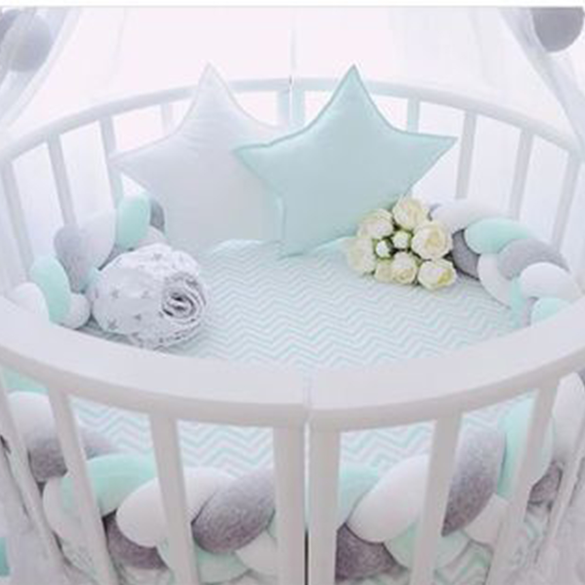 300 CM nordique bébé pare-chocs infantile enfants literie articles enfants chambre coussin coton doux tricot Long noeud boule oreiller lit protecteur