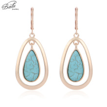Badu Vintage Hoop Earring Water Drop Blue Stone Pendant Golden Earrings for Women Fashion Jewelry Wholesale