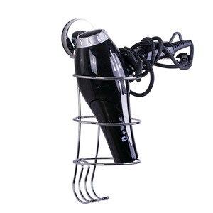 Image 3 - Soporte para secador de pelo cromado, sin perforación, gancho de succión fuerte