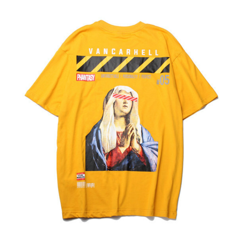 Mens T Shirts Virgin Mary Print Streetwear Hip Hop Harajuku Casual Short Sleeve Tops Tees Loose Male Fashion Cotton Tshirts