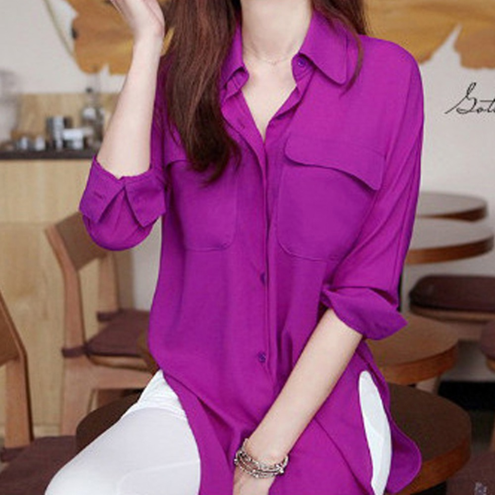 Fashion Women Chiffon Blouse Top Pockets Long Sleeve Shirt  Solid 2 Colors