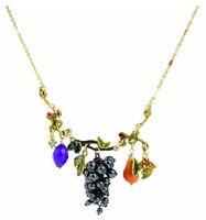 New Necklace Enamel Glaze Fresh Purple Grape Fruit Pear Leaves Clavicle Female Chain