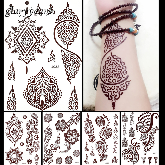 1pc Flash Metallic Waterproof Tattoo Women Brown Ink Mehndi Henna Leg Hand Feet Tan Henna Flower Temporary Tattoo Paster Sticker