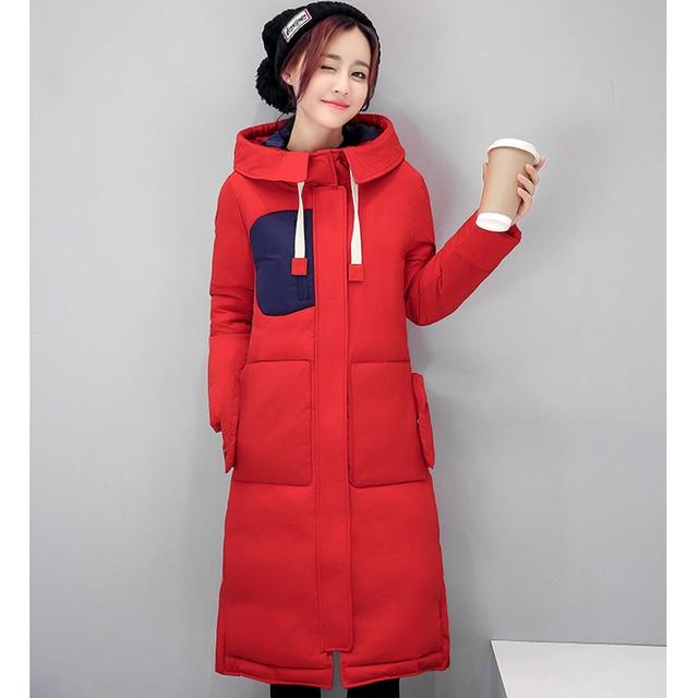 Rode Winterjas.Ayunsue Nieuwe Rode Winterjas Vrouwen Warm Gewatteerd Katoen