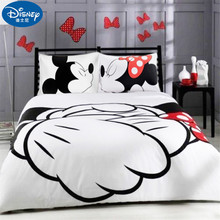 Disney's Cartoon Mickey Minnie 3D Print Cotton Bedding Set Adult Twin Full Queen King White Black Decorative Duvet Cover