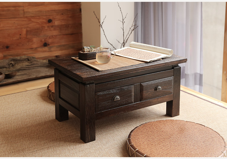 Japanese Antique Furniture Tea Table Wooden Storage Cabinet Two Drawer Paulownia Wood Asian Traditional Living Room