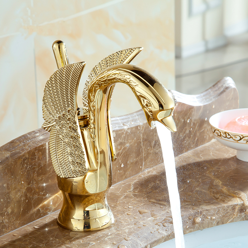 Swan shape antique Bathroom brass basin faucet hot and cold, Copper retro sink basin faucet mixer water tap golden Free Shipping donyummyjo luxury bathroom basin faucet brass golden polish swan shape single handle hot&cold water vanity sink mixer tap page 9