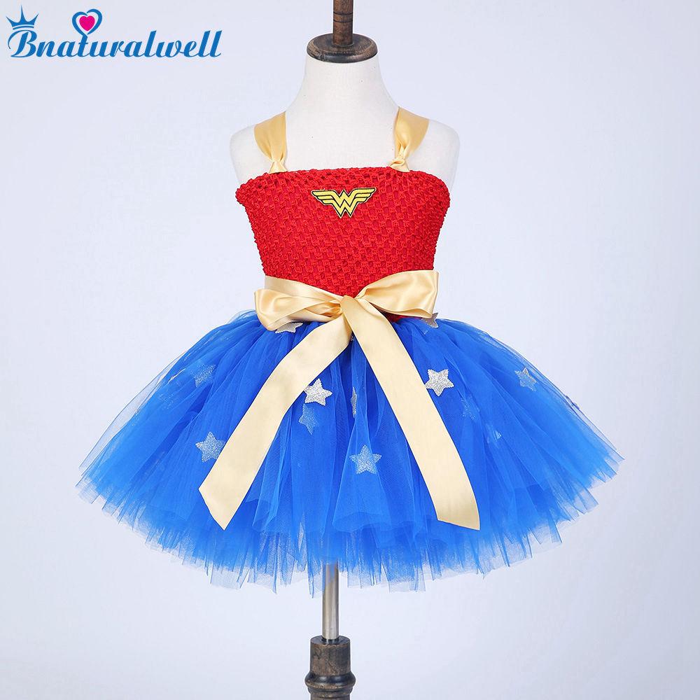 Bnaturalwell Little Girl Tutu Dress Kids Cosplay Costume Christmas Dress Up Superhero Wonder Tutu Dresses Baby Photo Prop TT012K