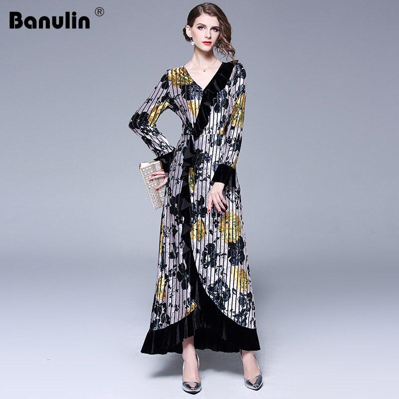 Banulin Runway Designer Velvet Maxi Dress Winter Dresses Women 2018 Vestido Longo V neck Ruffles Long