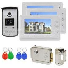 DIYSECUR 7 pulgadas Video de la Puerta Portero 1V3 700TVL Sistema de Cámara Del Monitor RFID Keyfob Abre