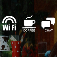 New Arrial 3 Of WIFI COFFEE CHAT 10cm Logo Service Sign Stickers Acrylic Plastic Mirror Wall