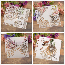 "New 4Pcs/Lot 13cm 5.1"" 1/4 Circle Edge DIY Layering Stencils Painting Scrapbook Coloring Embossing Album Decorative Template(China)"