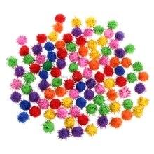 100 sztuk kolorowe Mini świecący brokat świecidełka kulki małe pompon dla kota zabawki