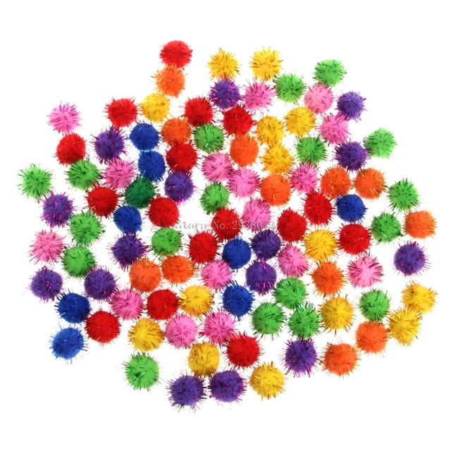 100Pcs Colorful Mini Sparkly Glitter Tinsel Balls Small Pom Ball For Cat Toys