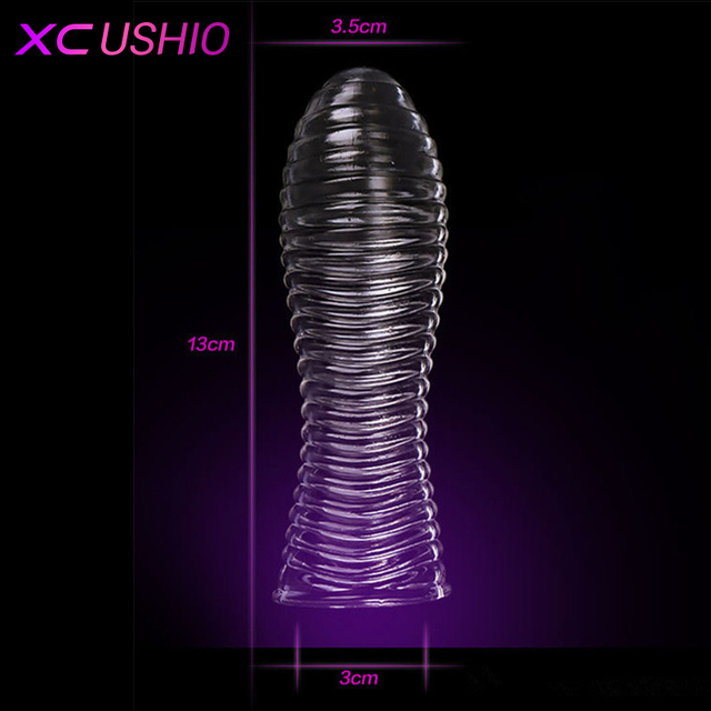 1pc Solid Head Cock Rings Reusable Condom Crystal Penis Extension Sleeves Adult Game Toys Sex Products For Man 5 Types