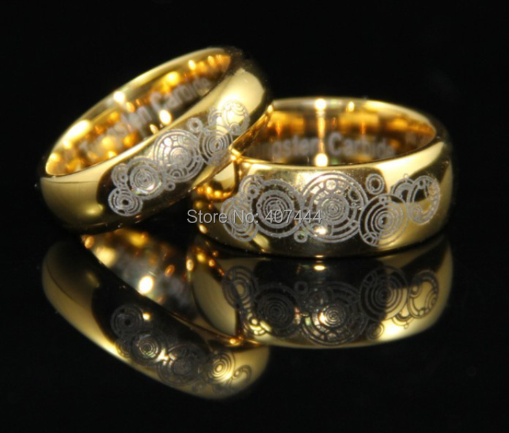 YGK JEWELRY 6MM/8MM Golden Domed Doctor Who Time New His/Her Tungsten Wedding Rings doctor who archives prisoners of time omnibus
